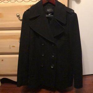 Worn once Wool pea coat black